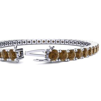 9 Inch 11 3/4 Carat Chocolate Bar Brown Champagne Diamond Tennis Bracelet In 14K White Gold