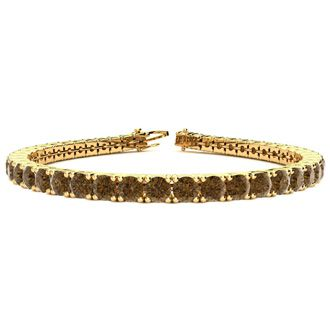 6.5 Inch 8 1/2 Carat Chocolate Bar Brown Champagne Diamond Tennis Bracelet In 14K Yellow Gold