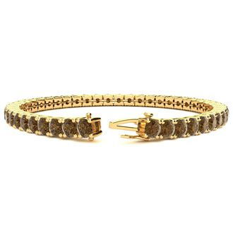 7.5 Inch 9 3/4 Carat Chocolate Bar Brown Champagne Diamond Tennis Bracelet In 14K Yellow Gold