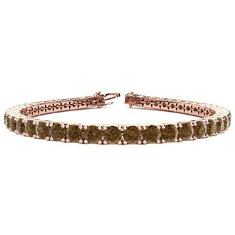 7.5 Inch 9 3/4 Carat Chocolate Bar Brown Champagne Diamond Tennis Bracelet In 14K Rose Gold