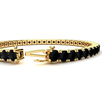 8 Inch 10 1/2 Carat Black Diamond Tennis Bracelet In 14K Yellow Gold