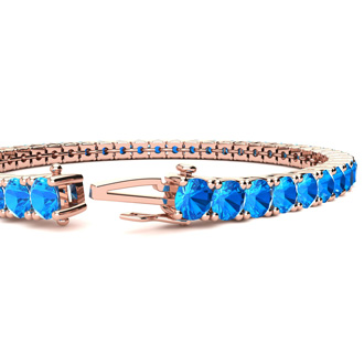 8 Inch 13 1/4 Carat Blue Topaz Tennis Bracelet In 14K Rose Gold