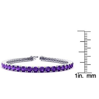 8 Inch 10 1/2 Carat Amethyst Tennis Bracelet In 14K White Gold