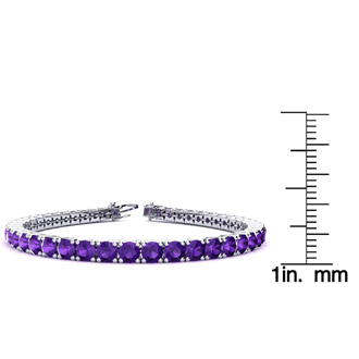 9 Inch 11 3/4 Carat Amethyst Tennis Bracelet In 14K White Gold