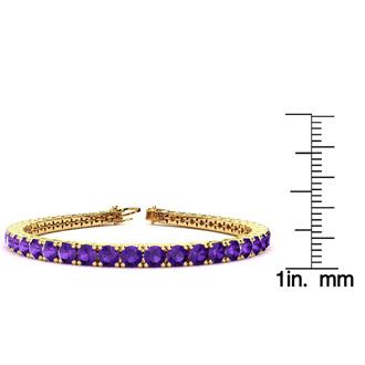 8.5 Inch 11 1/5 Carat Amethyst Tennis Bracelet In 14K Yellow Gold
