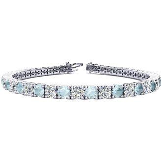 7 Inch 8 1/4 Carat Aquamarine and Diamond Tennis Bracelet In 14K White Gold