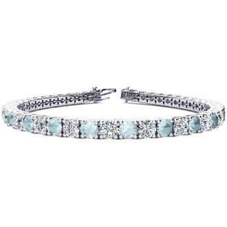 8 Inch 9 1/2 Carat Aquamarine and Diamond Tennis Bracelet In 14K White Gold