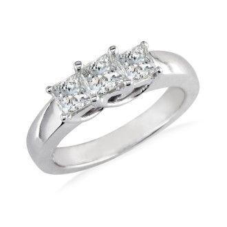 1 1/2ct Princess Three Diamond Ring in 14k White Gold. Closeout