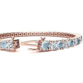 7.5 Inch 8 3/4 Carat Aquamarine and Diamond Tennis Bracelet In 14K Rose Gold