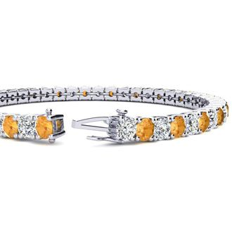 7.5 Inch 9 3/4 Carat Citrine and Diamond Tennis Bracelet In 14K White Gold