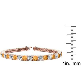 9 Inch 11 3/4 Carat Citrine and Diamond Tennis Bracelet In 14K Rose Gold