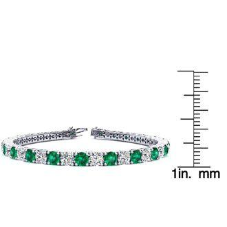 7.5 Inch 11 Carat Emerald and Diamond Tennis Bracelet In 14K White Gold