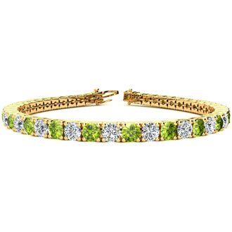 8 1/2 Carat Peridot and Diamond Tennis Bracelet In 14 Karat Yellow Gold, 6 1/2 Inches