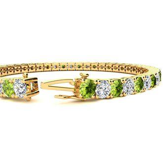 7 Inch 9 1/5 Carat Peridot and Diamond Tennis Bracelet In 14K Yellow Gold