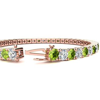 8 Inch 10 1/2 Carat Peridot and Diamond Tennis Bracelet In 14K Rose Gold