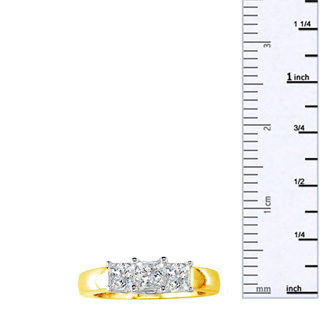 1 1/2ct Princess Three Diamond Ring in 14k Two Tone Gold. Closeout