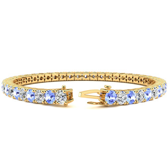 6 Inch 7 1/2 Carat Tanzanite and Diamond Tennis Bracelet In 14K Yellow Gold