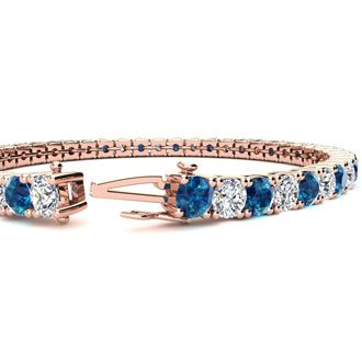 7.5 Inch 9 3/4 Carat Blue and White Diamond Tennis Bracelet In 14K Rose Gold