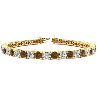 6 Inch 7 3/4 Carat Chocolate Bar Brown Champagne and White Diamond Tennis Bracelet In 14K Yellow Gold