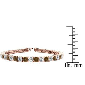 6.5 Inch 8 1/2 Carat Chocolate Bar Brown Champagne and White Diamond Tennis Bracelet In 14K Rose Gold