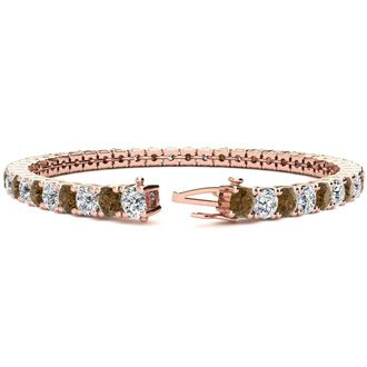 8 Inch 10 1/2 Carat Chocolate Bar Brown Champagne and White Diamond Tennis Bracelet In 14K Rose Gold