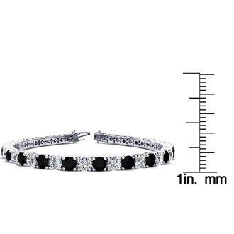 8 Inch 10 1/2 Carat Black and White Diamond Tennis Bracelet In 14K White Gold