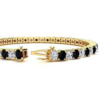 8 Inch 10 1/2 Carat Black and White Diamond Tennis Bracelet In 14K Yellow Gold