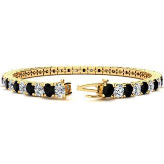 8.5 Inch 11 1/5 Carat Black and White Diamond Tennis Bracelet In 14K Yellow Gold