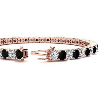 6 Inch 7 3/4 Carat Black and White Diamond Tennis Bracelet In 14K Rose Gold
