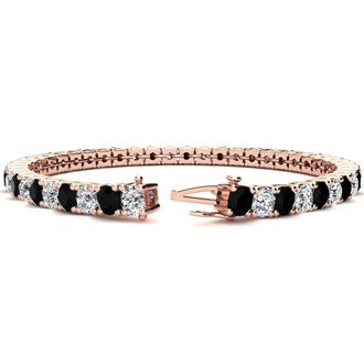 8.5 Inch 11 1/5 Carat Black and White Diamond Tennis Bracelet In 14K Rose Gold