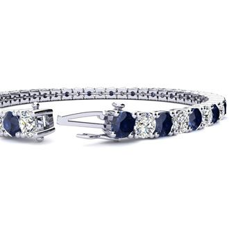 8 Inch 12 3/4 Carat Sapphire and Diamond Tennis Bracelet In 14K White Gold