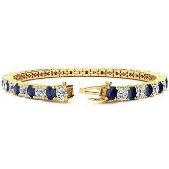 14 Carat Sapphire and Diamond Tennis Bracelet In 14 Karat Yellow Gold, 9 Inches