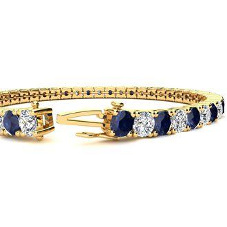 9 Inch 14 Carat Sapphire and Diamond Tennis Bracelet In 14K Yellow Gold