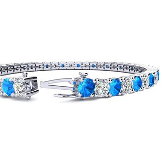 6.5 Inch 9 2/3 Carat Blue Topaz and Diamond Tennis Bracelet In 14K White Gold