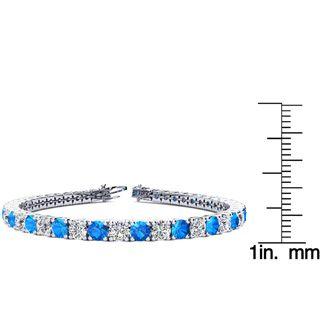 6.5 Inch 9 2/3 Carat Blue Topaz and Diamond Tennis Bracelet In 14K White Gold