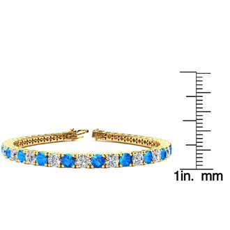 8 Inch 12 Carat Blue Topaz and Diamond Tennis Bracelet In 14K Yellow Gold