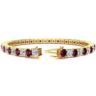 8 Carat Garnet and Diamond Tennis Bracelet In 14 Karat Yellow Gold, 6 Inches