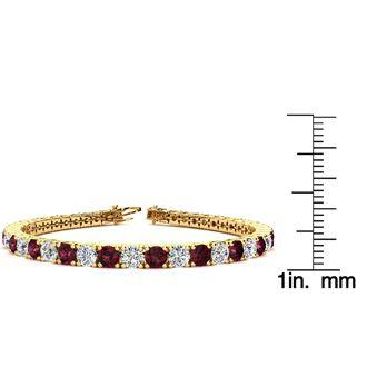 6.5 Inch 9 Carat Garnet and Diamond Tennis Bracelet In 14K Yellow Gold
