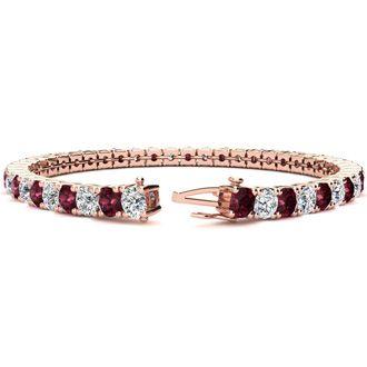 6.5 Inch 9 Carat Garnet and Diamond Tennis Bracelet In 14K Rose Gold