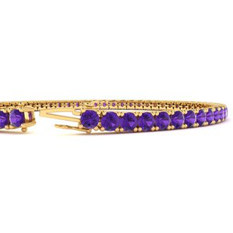6 Inch 3 1/2 Carat Amethyst Tennis Bracelet In 14K Yellow Gold