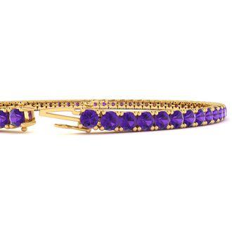 9 Inch 5 Carat Amethyst Tennis Bracelet In 14K Yellow Gold