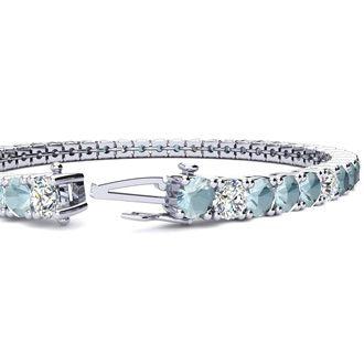 6 Inch 6 1/2 Carat Aquamarine and Diamond Alternating Tennis Bracelet In 14K White Gold