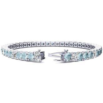 8.5 Inch 9 1/2 Carat Aquamarine and Diamond Alternating Tennis Bracelet In 14K White Gold