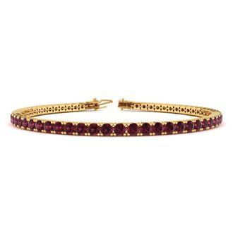 7.5 Inch 5 Carat Garnet Tennis Bracelet In 14K Yellow Gold