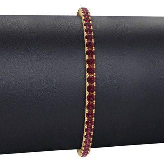8.5 Inch 5 1/2 Carat Garnet Tennis Bracelet In 14K Yellow Gold