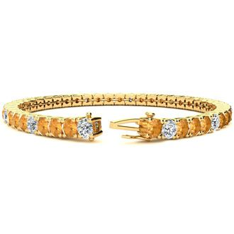 8 Inch 10 1/2 Carat Citrine and Diamond Alternating Tennis Bracelet In 14K Yellow Gold