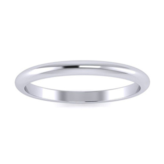 10K White Gold 2MM Ladies and Mens Wedding Band, Size 6, Free Engraving