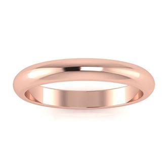 10K Rose Gold 3MM Ladies and Mens Wedding Band, Size 3, Free Engraving