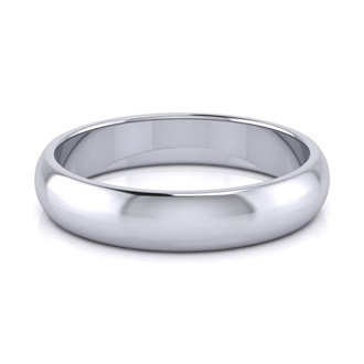 10K White Gold 4MM Ladies and Mens Wedding Band, Size 16, Free Engraving