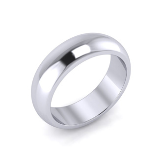 10K White Gold 6MM Ladies and Mens Wedding Band, Size 12, Free Engraving